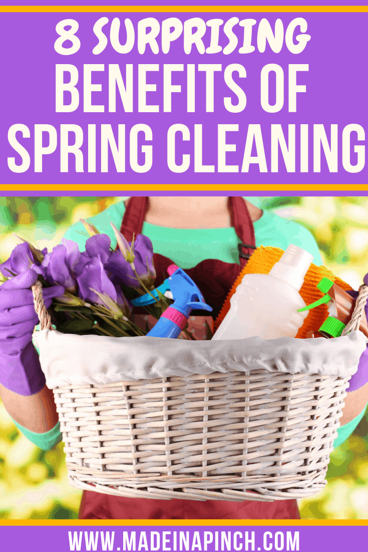 There are huge benefits from spring cleaning. Find out more on Made in a Pinch. Follow us on Pinterest for more helpful tips and simple recipes!