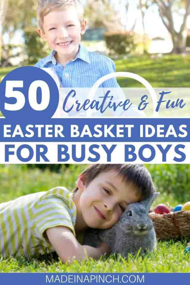 Top Easter basket ideas for boys pin image