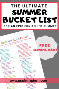 Grab our massive summer bucket list for kids to help you enjoy an epic summer. For more helpful tips and easy recipes follow us on Pinterest!