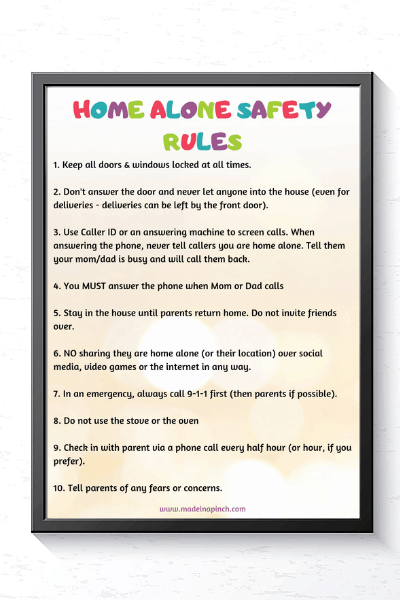 Free printable of our Home Alone Safety Rules to print and post to remind your children what is allowed and what isn't while staying home alone. #parenting #parentingtips #momhacks #stayhomealone #childsafety #parentinghelp