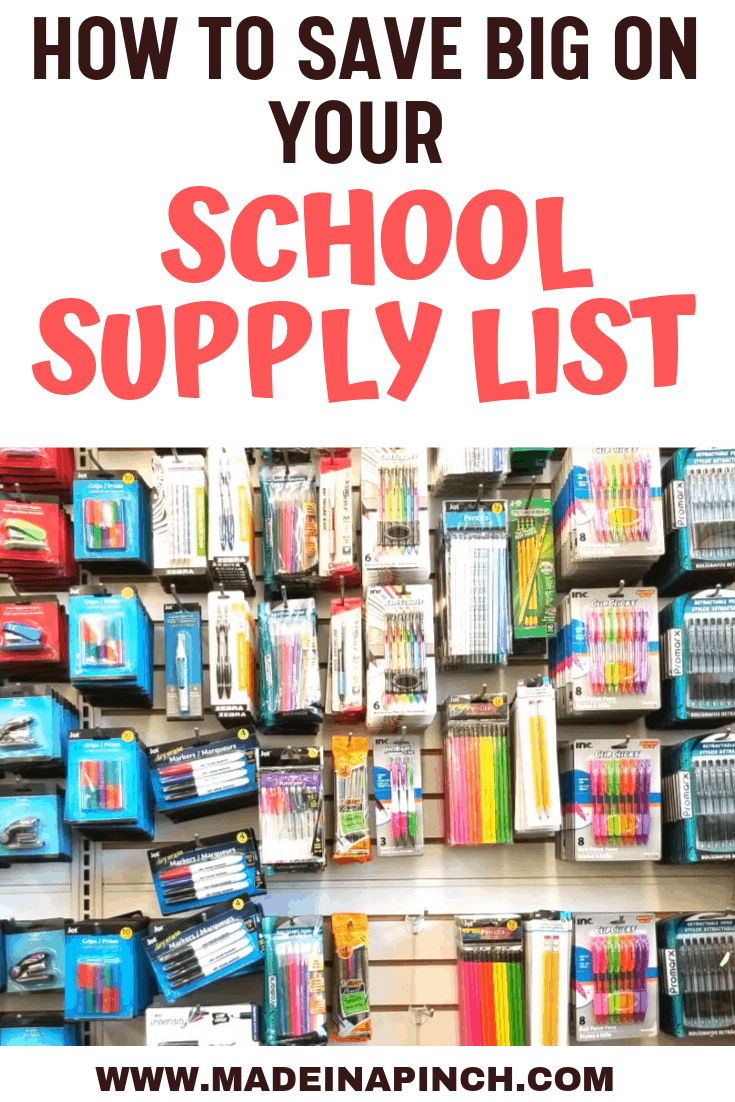 Selection of school supplies you can buy at the Dollar Tree