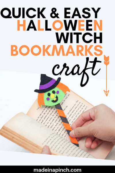 Witchy Halloween bookmarks craft for kids tutorial, Pinterest Pin