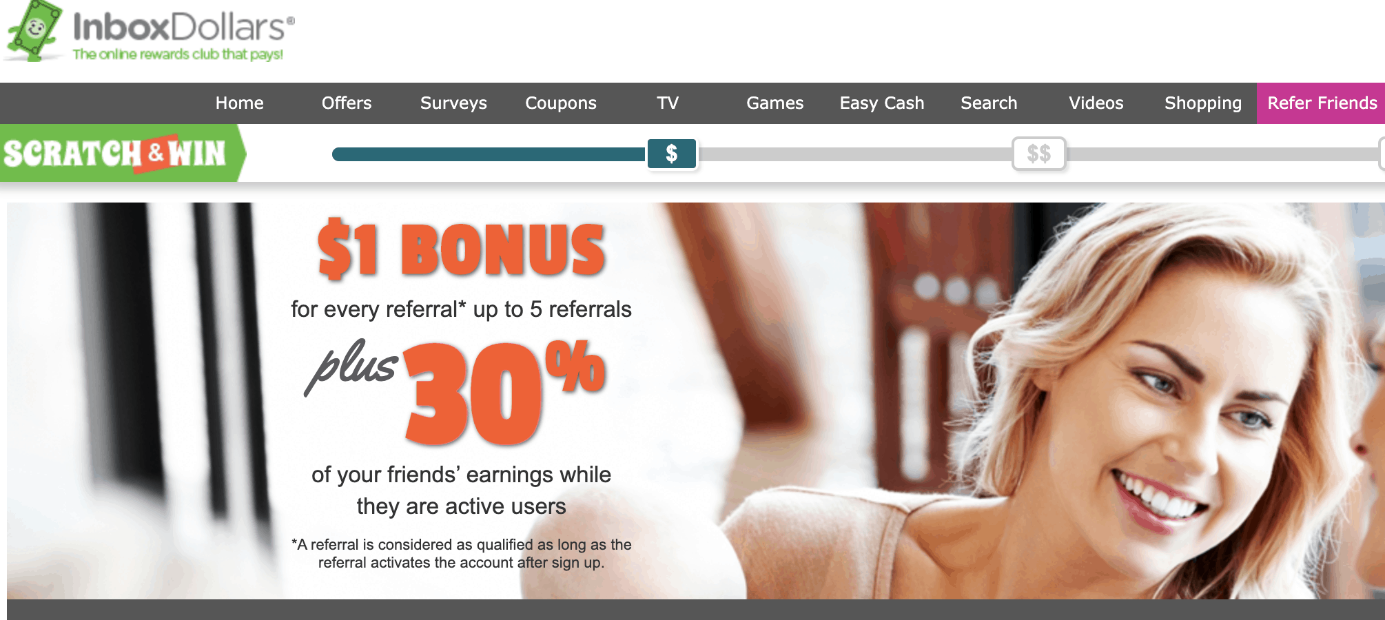InboxDollars is one of the best referral programs that pay you cash for referring your friends.