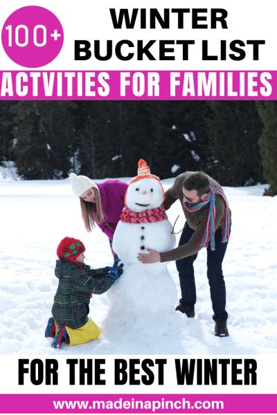 Winter Bucket List Activities for Families Pinterest Pin