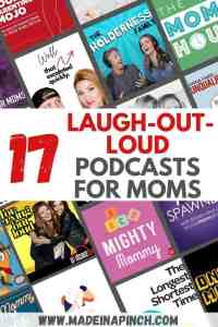 laugh out loud best mom podcasts pin image