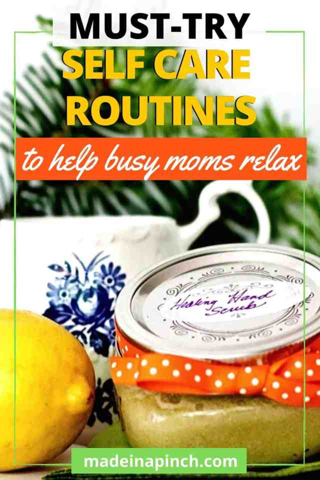 self-care routine ideas for busy moms Pinterest pin image