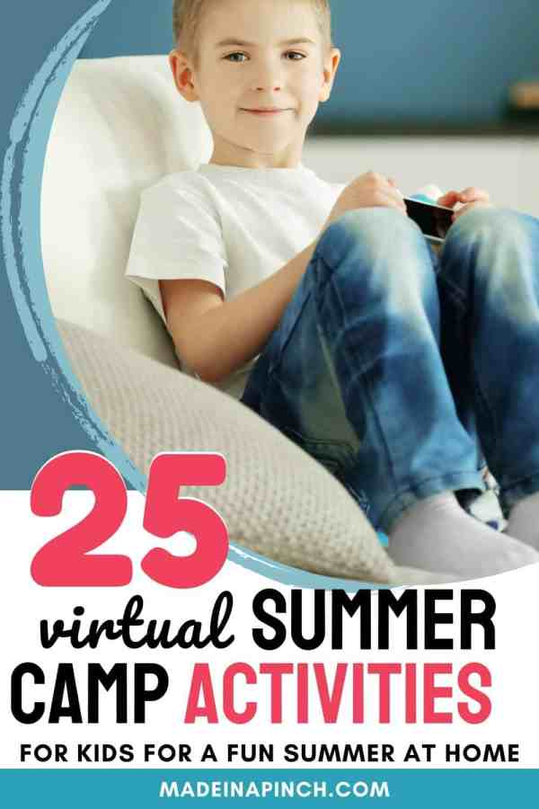 virtual summer camp activities for kids pin image