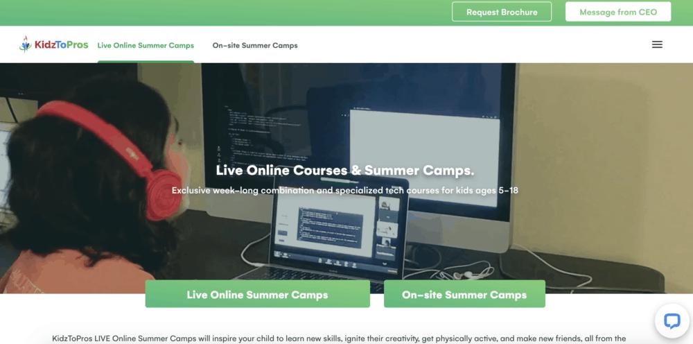 Kidz To Pros summer camp homepage