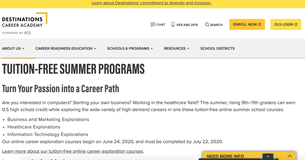 K12 Inc summer camp homepage