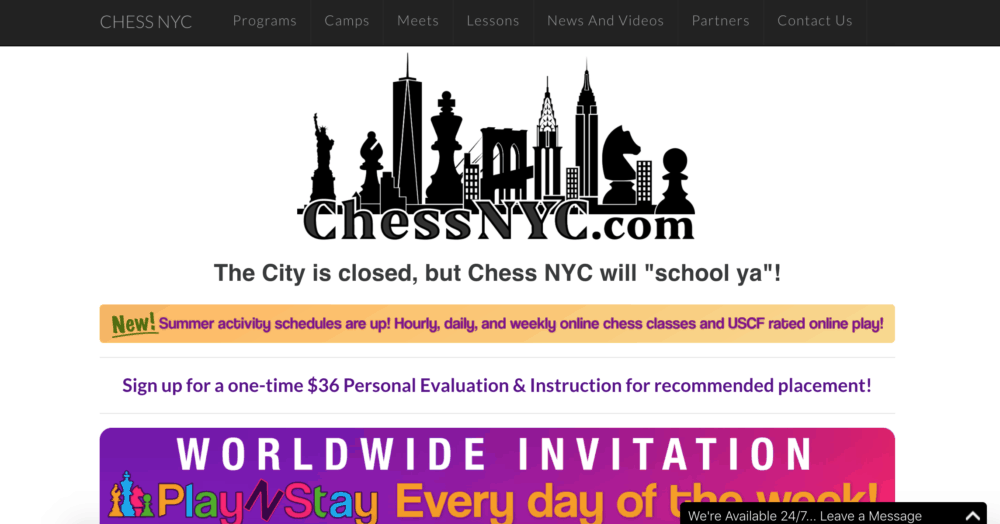 Chess NYC summer program homepage