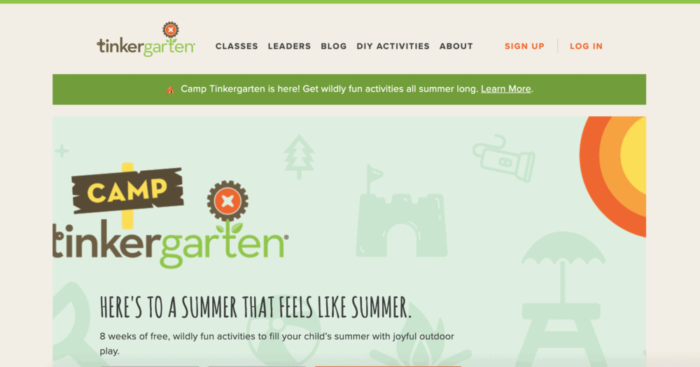 Camp Tinkergarten homepage