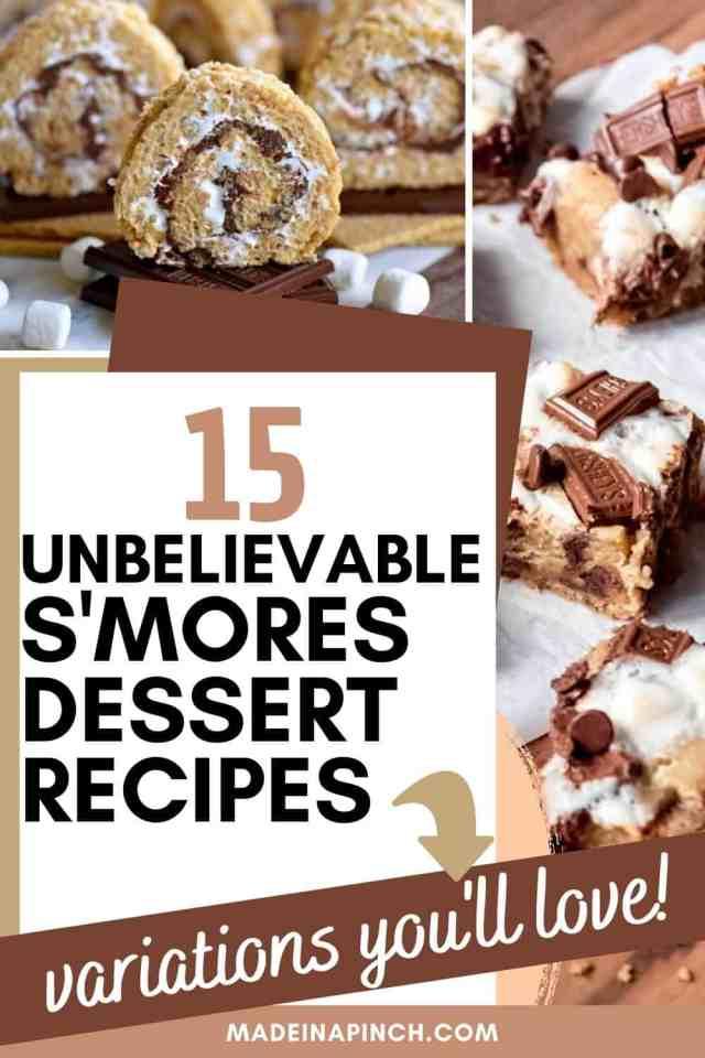 s'mores dessert variation recipes pin image