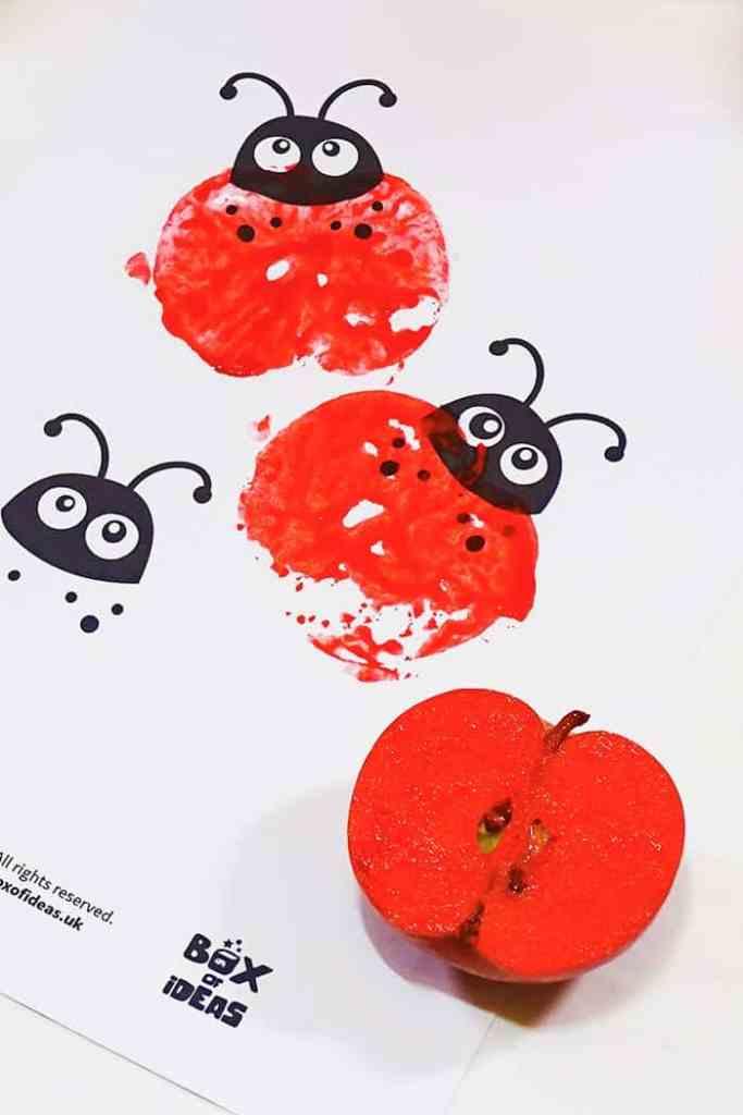 apple stamped ladybug
