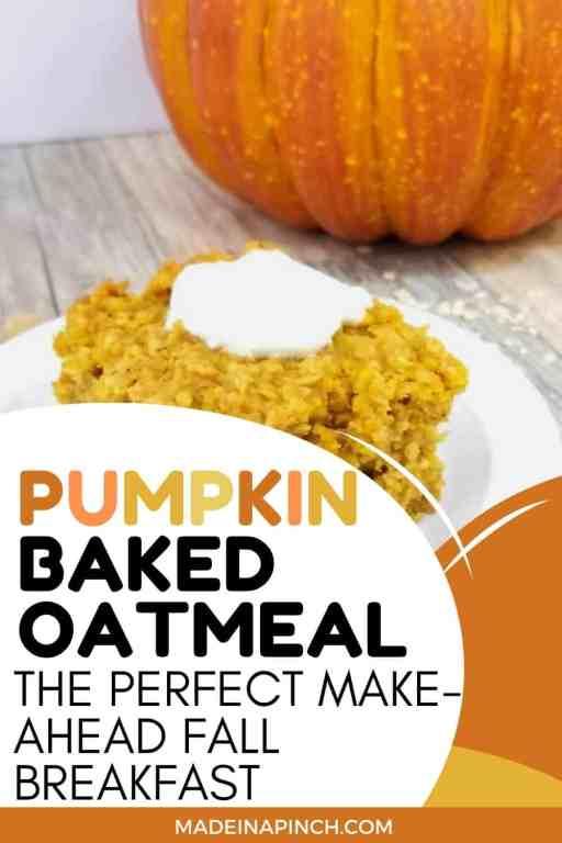 pumpkin baked oatmeal pin image