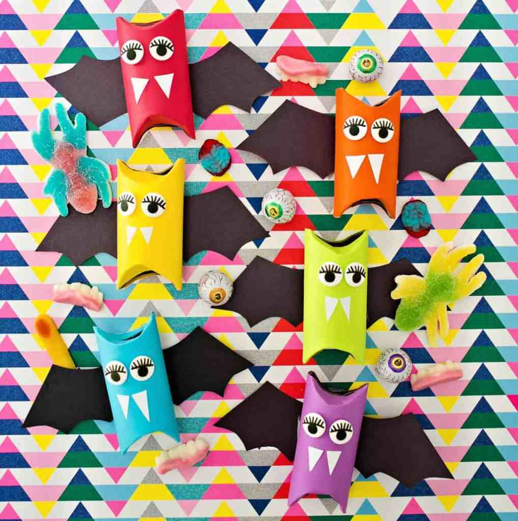 rainbow paper tube bat crafts