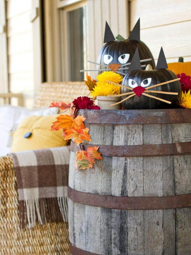 black cat pumpkin decorating ideas for kids
