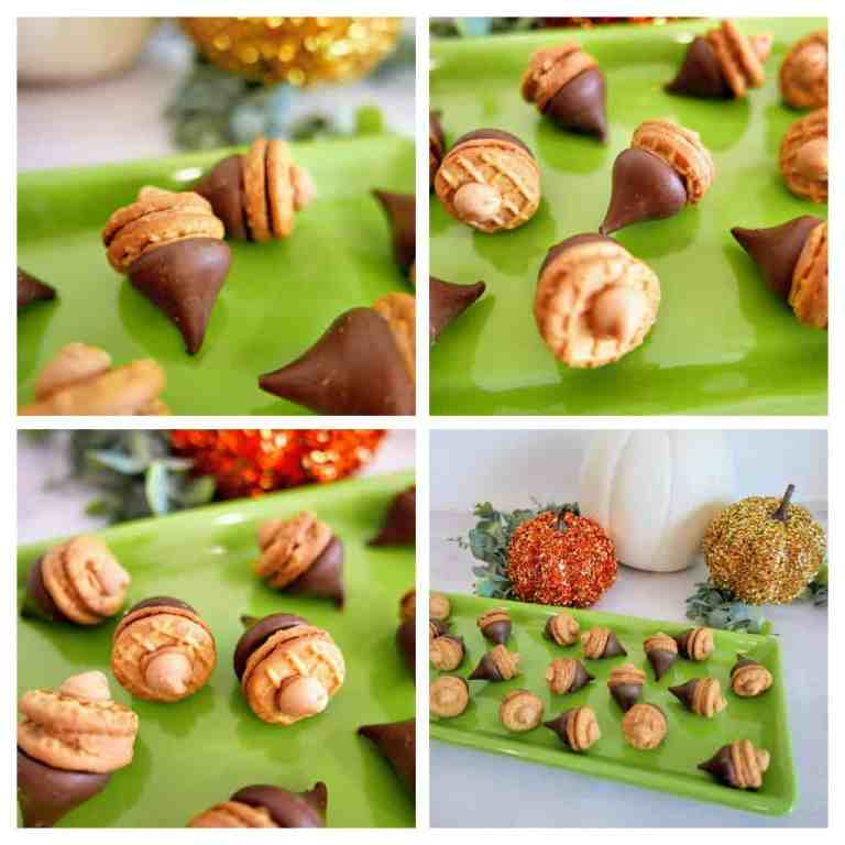 chocolate acorn treats image collage