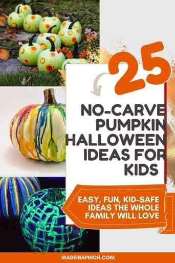 Pumpkin Decorating Ideas for kids pin image