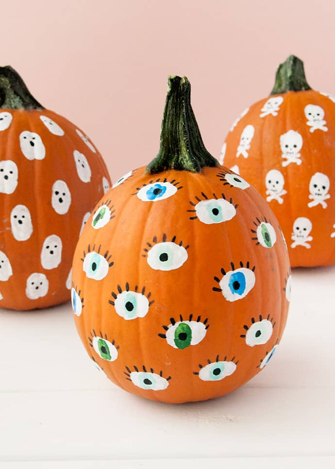 painted fingerprint pumpkin decorations