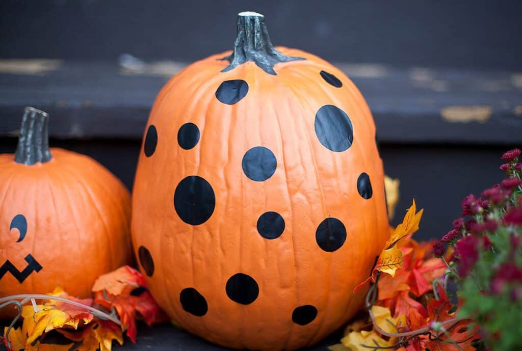 polka dot decorated pumpkin