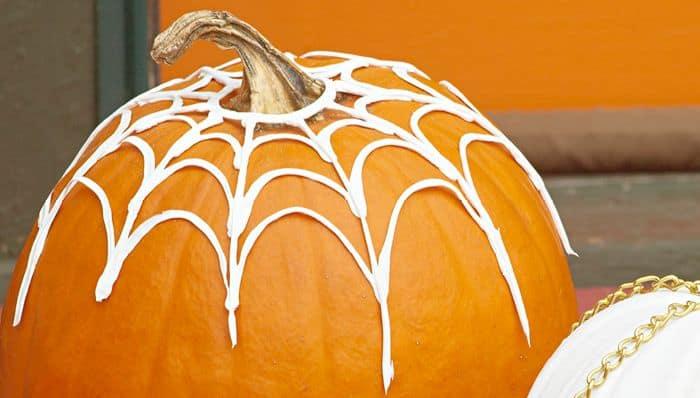 no carve spiderweb pumpkin decorating idea