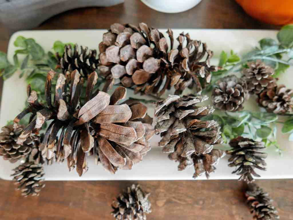 scented pinecones on a tray with greenery