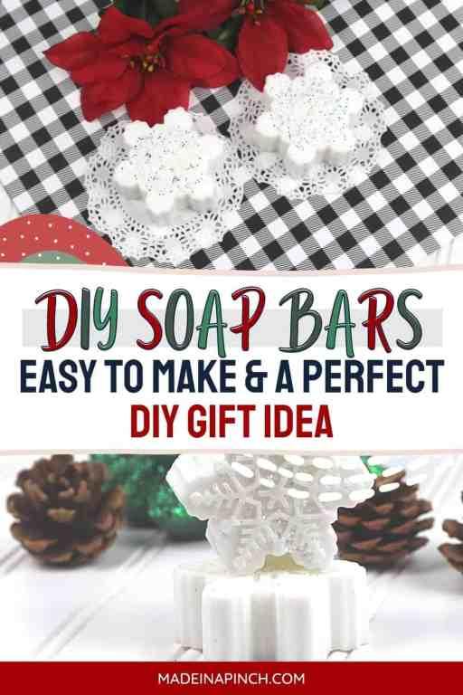 Sparkly snowflake DIY soap bars pin image