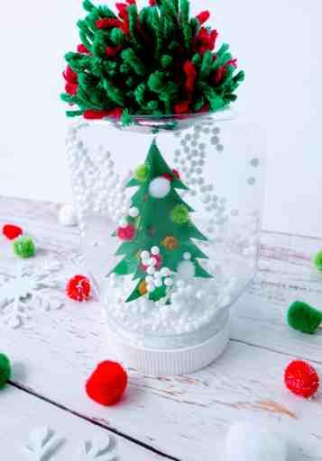 completed DIY mason jar snow globe