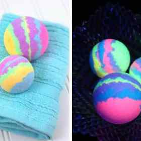 glow in the dark homemade bath bombs collage
