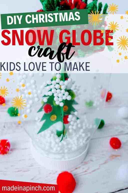 DIY Christmas mason jar snow globe craft pin