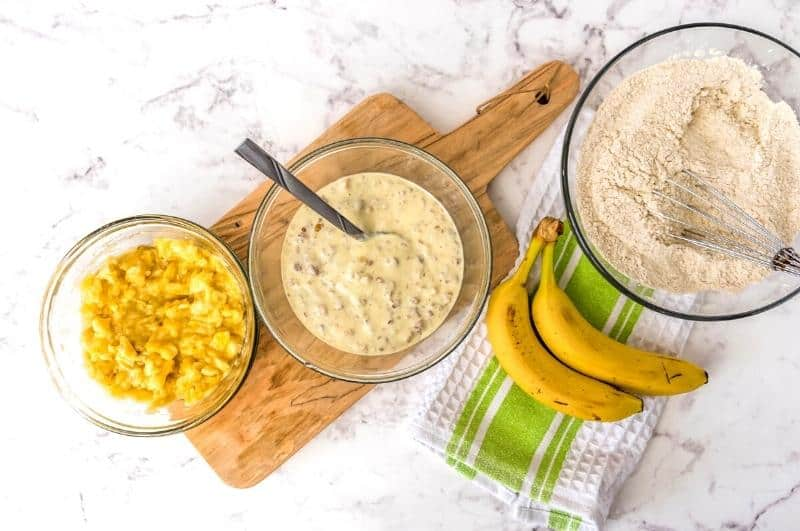 all ingredients in bowls for banana protein muffins