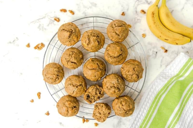 baked protein banana muffins on a cooling rack