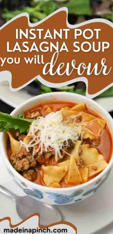 Lasagna Soup in the Instant Pot tall pin image