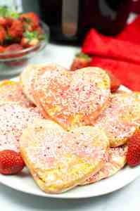 Air Fryer Valentine's Day pop tarts finished stacked on a plate