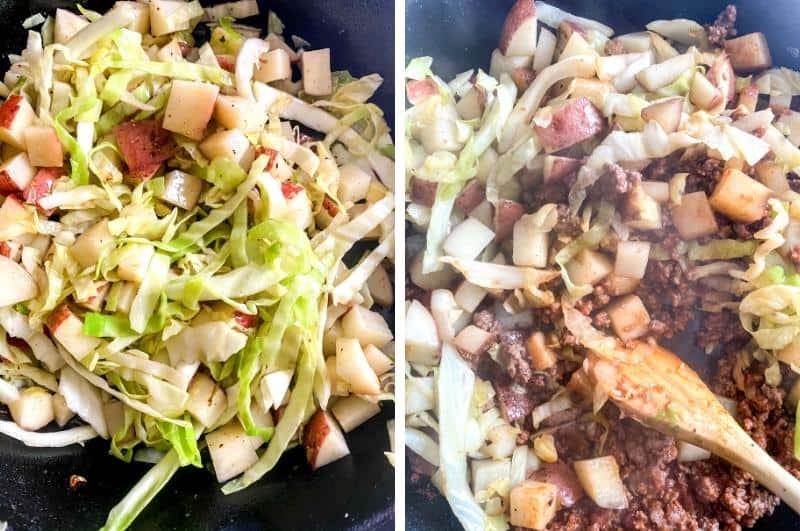 Irish meat pie recipe process photo collage