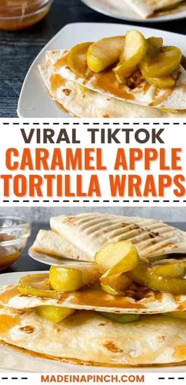 caramel apple tortilla wrap hack pin image