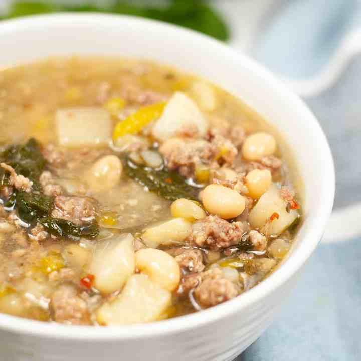 IP sausage potato spinach soup