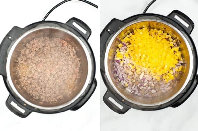IP Sausage Potato Spinach Soup process collage1