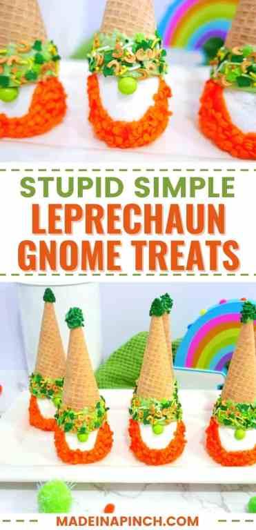 St. Patrick's Day leprechaun gnome treats long pin image