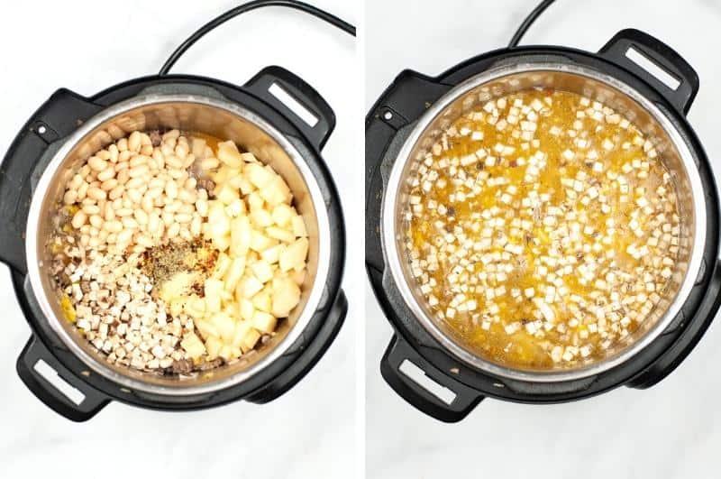 IP Sausage Potato Spinach Soup process collage 2