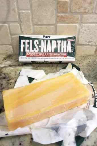 2 bars of Fels-Naptha soap: one in the package and one out