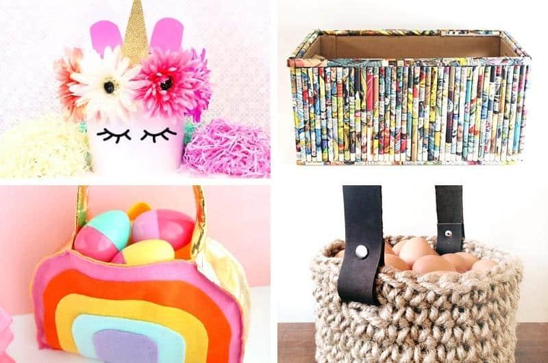 homemade basket ideas collage #2