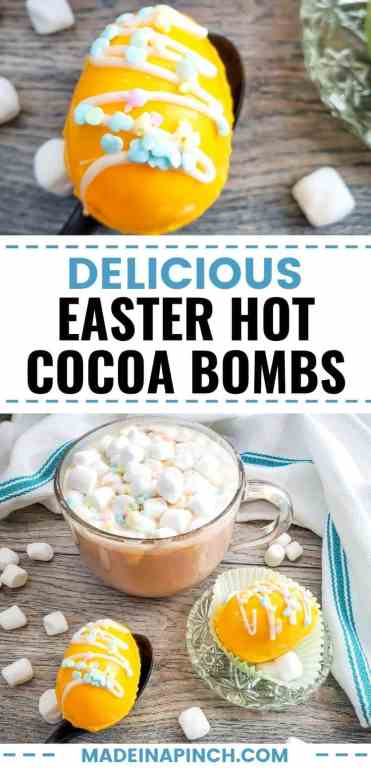 Hot chocolate isn't just for the winter! You have permission to enjoy your favorite velvety decadent drink all year long, and these fun Easter hot cocoa bombs are just the way to enjoy them for spring. Pour warm milk over these hot chocolate bombs and watch mini marshmallows and chocolate explode out. Kids have SO much fun with them, and they make fun, edible gifts! Click through to find fun options for adding variety to your Easter cocoa bombs.  #hotcocoabombs #hotchocolatebombs #easter #easterrecipes #madeinapinch