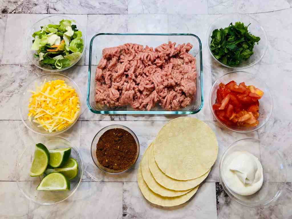 ingredients for taco bowls