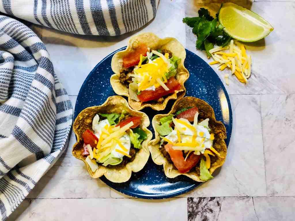 mini taco bowls on a plate