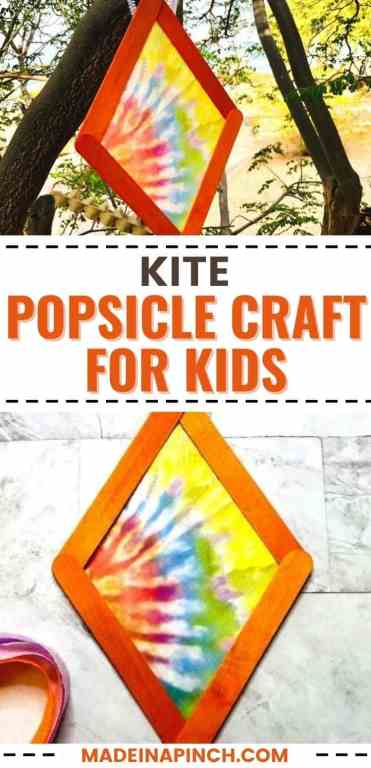 colorful kite popsicle stick crafts for kids long pin image