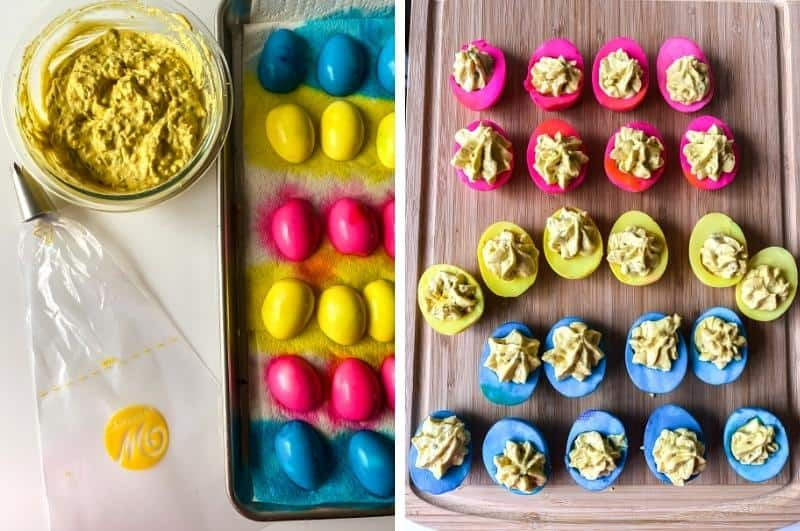 image collage of dyed egg whites and mixed yolk filling and filled colored deviled eggs on a tray