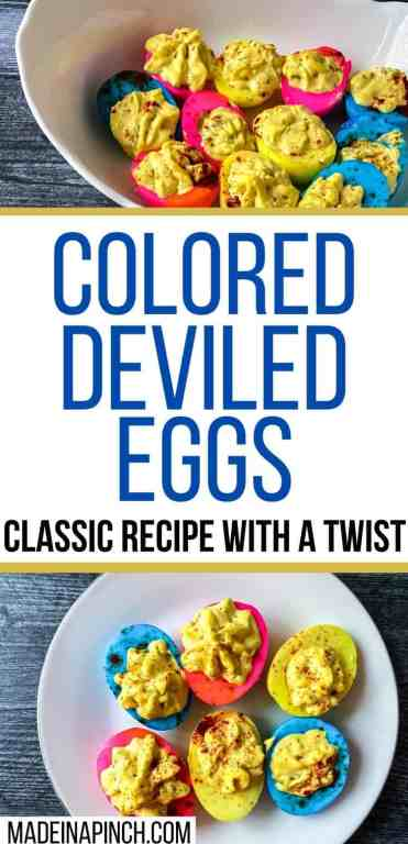 colored deviled eggs long pin image
