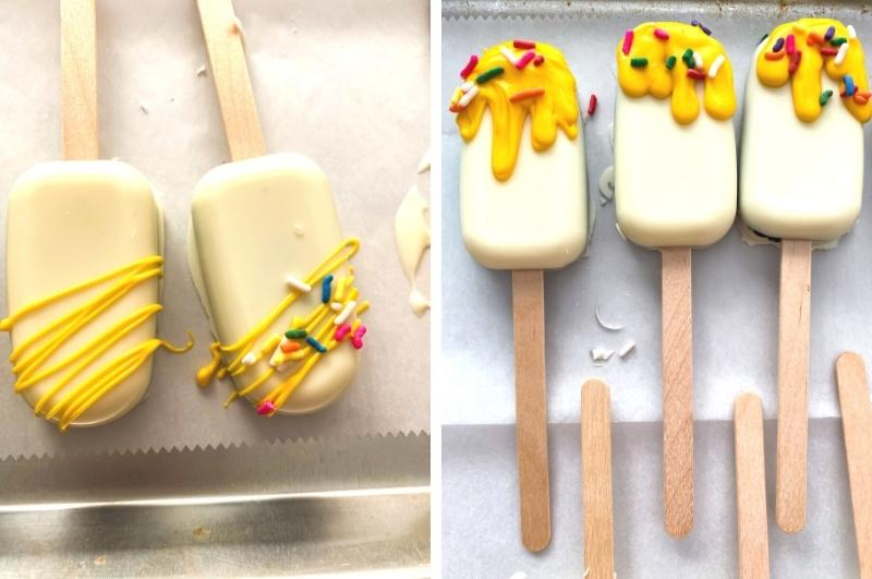 drying popsicle-shaped cake pops