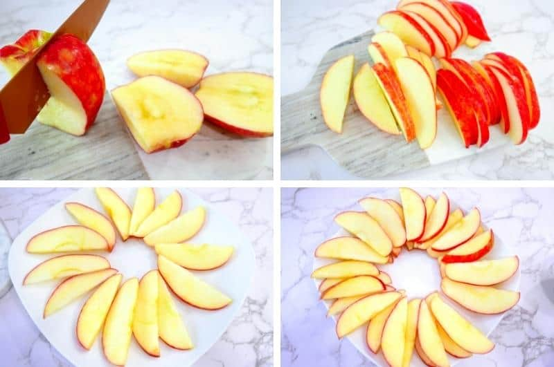 arranging apple slices for apple nachos